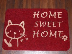 NON SLIP CATS DOORMATS 40X60CM RUBBER BACKING GOOD QUALITY ALL COLOURS REDS/GOLD